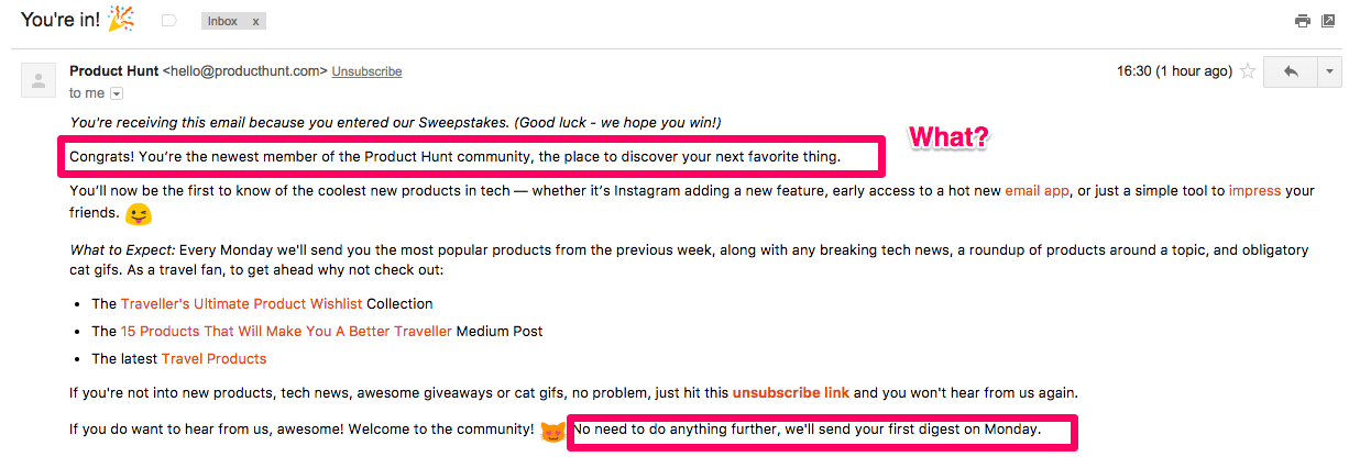 Product Hunt email