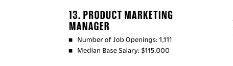 Product Marketing Manager as the #13 top job in the US.