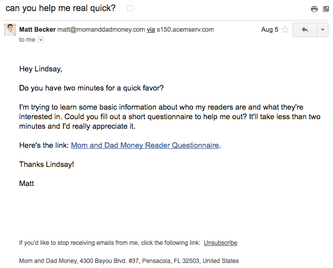 message customers with emails like this to build their understanding of your target market.