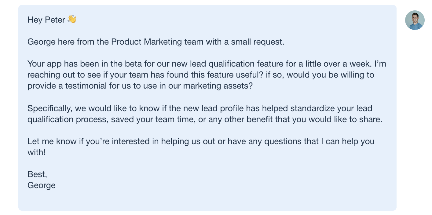 Personalized emails for product testing