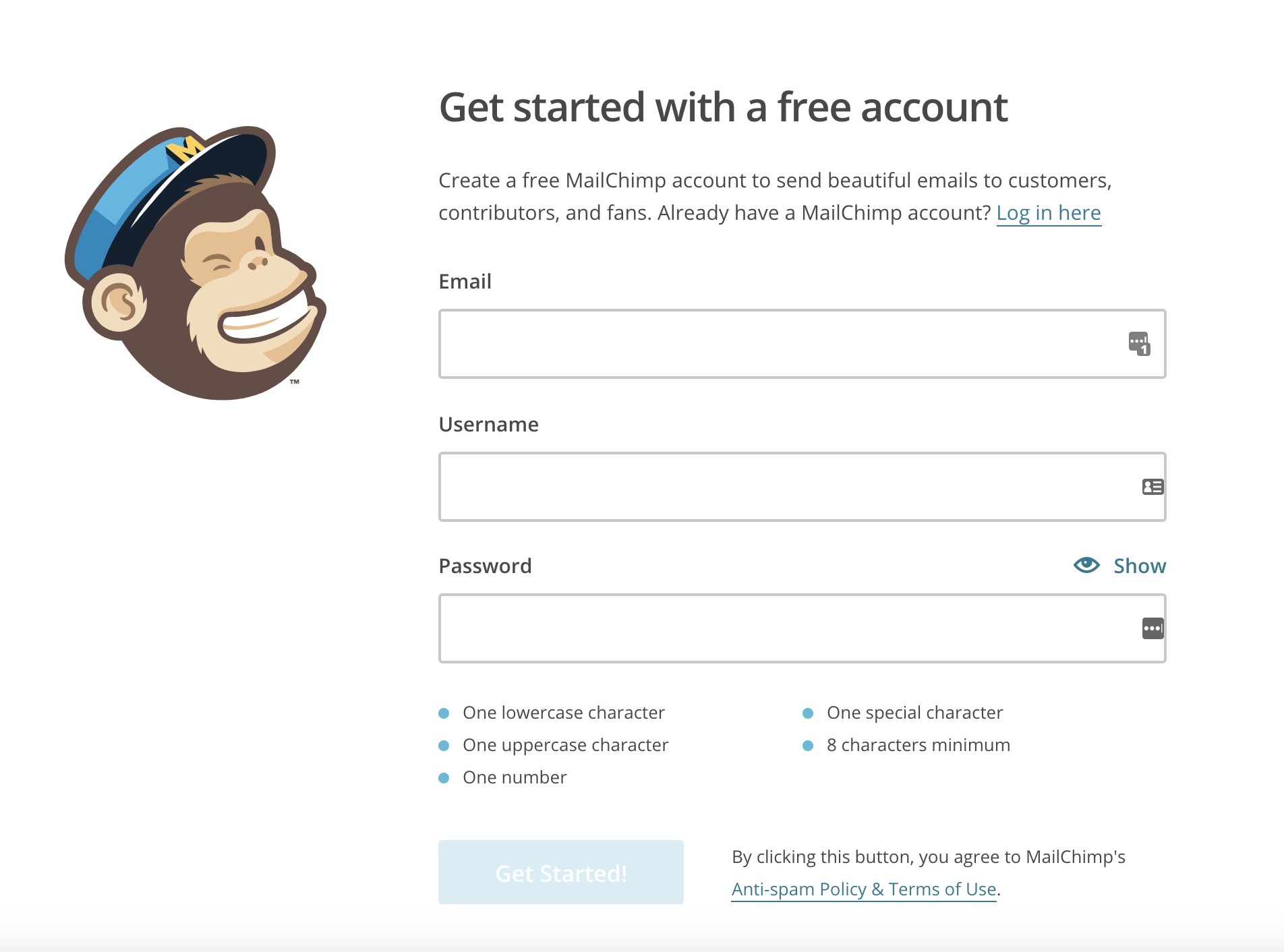 Free trial with Mailchimp