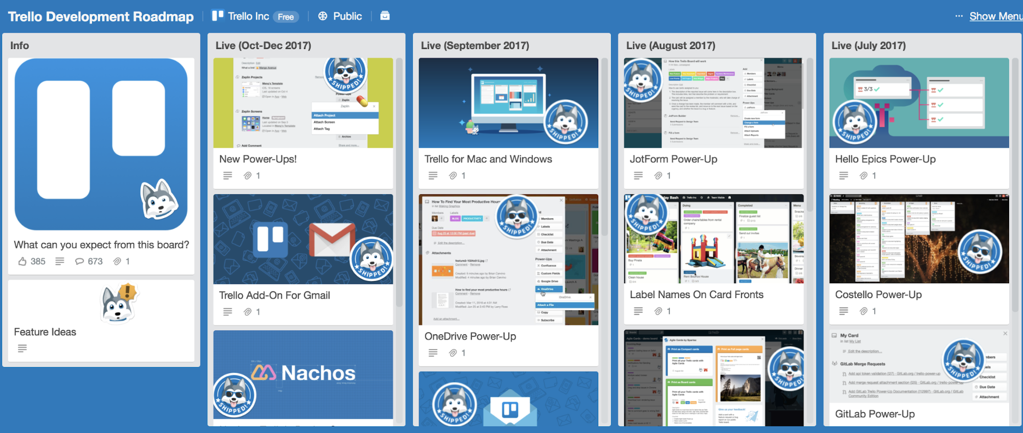 Trello public roadmap